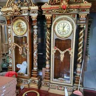 Antique Clock kayu jati asli