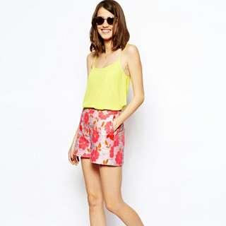 ASOS Neon Floral Print Jacquard SHORTS