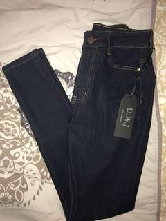 Fashion Nova Super High Waisted Jeans (Dark Blue)