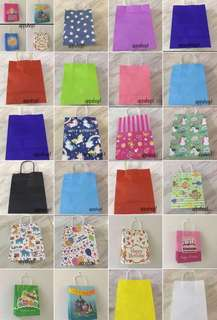Assorted printing and colors paper bag- for party goodies bag bag, event door gift, goody bag packages