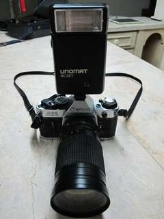 Canon AE1 Program with Lens and Flash Vintage Camera