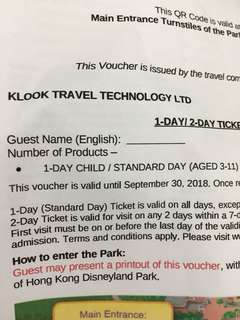 Disney land 1 Day Ticket for Child Aged 3-11