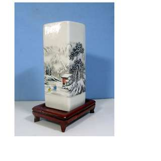 Vintage Chinese porcelain ink brush pot winter scene circa 1960s unused
