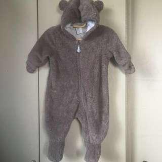 H&M Pile Snuggle Suit - Bear suit