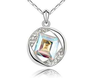 Womens Opal Pendant Necklace