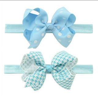 Instock - 2pc blue assorted headband, baby infant toddler girl children sweet kid happy abcdefgh so pretty