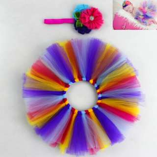Instock - 2pc multicolor tutu set, baby infant toddler girl children sweet kid happy abcdefgh so pretty