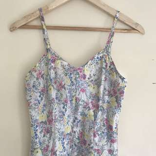 Vintage floral satin playsuit