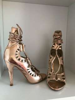 Rose gold lace up heels