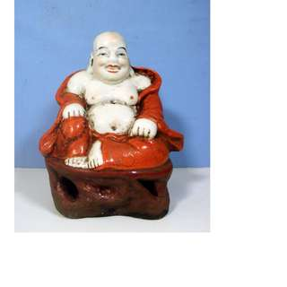 Vintage Chinese porcelain Buddha statue with pedestal circa early to mid 1900s