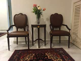 Imported armchair set with table