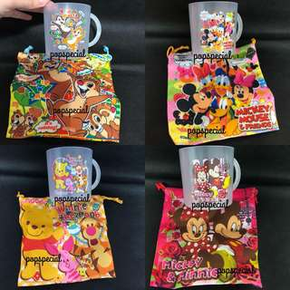 Disney Winnie the Pooh Chip and Dale Mickey Minnie Mouse Donald Duck Daisy Duck Woofy Plastic Cup with drawstring pouch