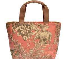 Jim Thompson Canvas Coral Printed Elephant and Flowered Beige Tote Bag