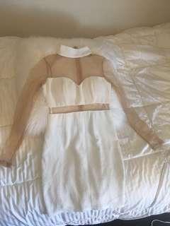 White high neck match dress