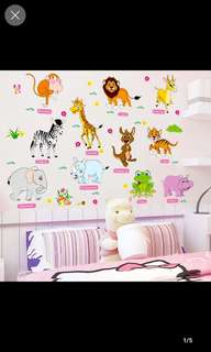 💥( 7 Designs . $12 Each ) Cartoon Small animal English stickers Kindergarten children room puzzle early education wall stickers can be removed Home decor ( Raw sticker 90x60cm )