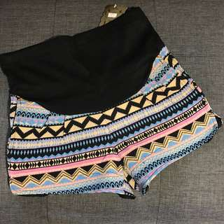Tribal Design Maternity Shorts