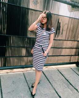 Striped Bodycon Dress Midi