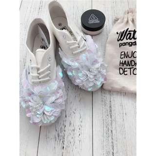 手工立體亮片花朵平底板鞋