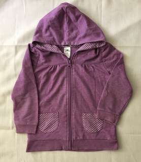 Charity Sale! Authentic H&T Purple cotton girl's zip-up Sweater Size 4