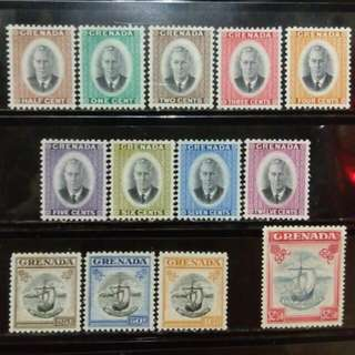 [lapyip1230] 英屬格瑞那達 1951年 喬治六世 大全套 原膠新票 Full Set Mint