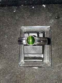 Green Tourmaline cateyes 925silver setting ( NFS/ JFS ) Customer order