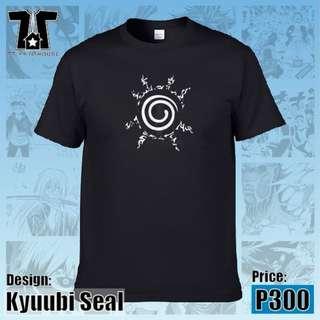 Naruto Anime - Kyuubi Seal Black T-Shirt