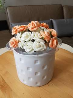 Flowers (artificial) in White Pot