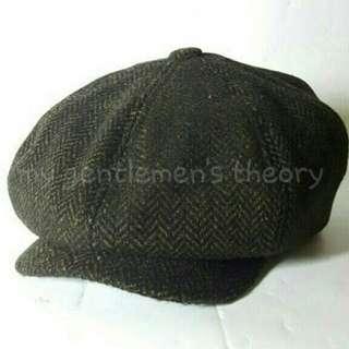 Herringbone Newsboy Cap / Vintage Hat / Bakerboy Hat