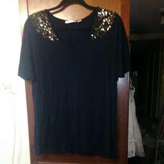 Sequin t-shirt + Wedge heels