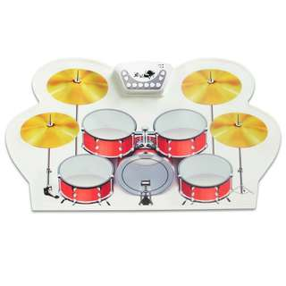 Foldable Silicone Drum - Lightweight Design, 5 Pads, 2 Pedals, Realistic Audio, Head Phone Support, Compatible with PC and MAC (CVACC-G899)
