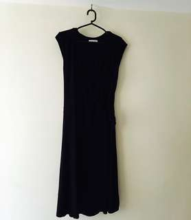 Charity Sale! Authentic Promod Black Stretchy Tie Up Work Office Dress Women's Size Medium