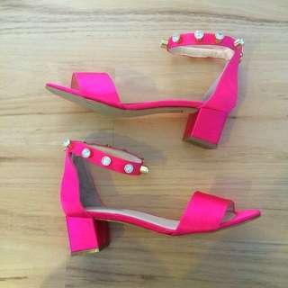 kat maconie pink satin pumps rrp $250