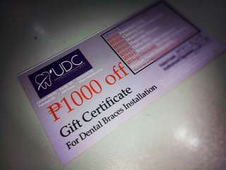 Gift Certificate for Dental Braces Installation