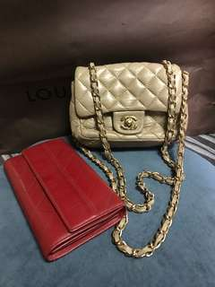 Sold by set mini chanel flap and long wallet