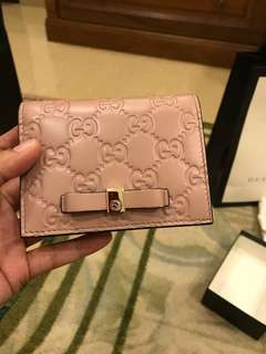 Gucci Guccissima pink leather short wallet / card case