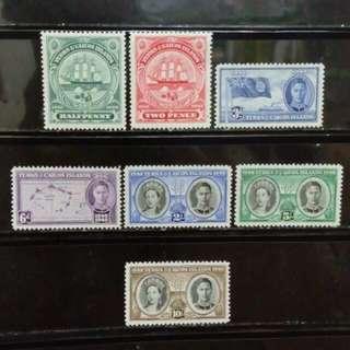 [lapyip1230] 英屬德士及斯可群島 1948年 喬治六世 殖民地百周年 新票全套 Set Mint