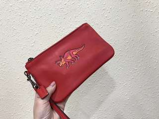 Coach Beasts Large Wristlet in Glovetanned leather