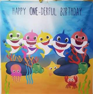 Rental - Baby Shark 1 year old birthday party backdrop