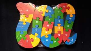 alphabet and number snake-shaped wooden puzzle