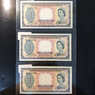 3 Pcs Run! ⭐️ 1953 Malaya Queen 👸 Elizabeth II $1, A/36 325543 -  325545, 3 Pcs Run Original Paper UNC With Strong Embossing! ⭐️