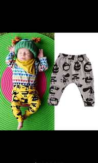 Baby Girl Boy Pants Trousers Pyjamas Monster Yellow Grey Long Leggings Harem Kids Children Newborn Infant [PO]