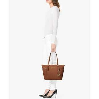 MICHAEL KORS 30F2GTTT8L JET SET TOP-ZIP SAFFIANO LEATHER TOTE