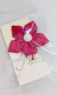 Ribbon flower bookmark clip headband brooch