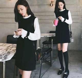 [全新]公主袖文青黑色連身裙