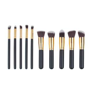 Kuas Make Up Wajah 10 PCS - Black Gold