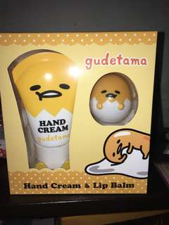 Gudetama hand cream and lip balm