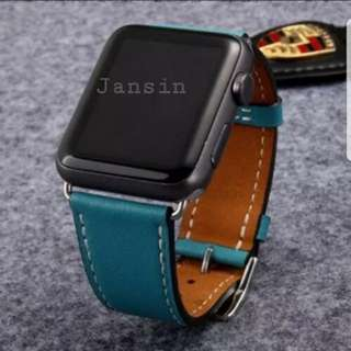 Instock Apple Iwatch Leather Strap Coral Blue new