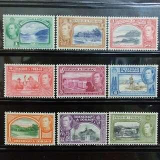 [lapyip1230] 英屬千里達托巴哥 1938年 喬治六世 雙色風景 至24仙 原膠新票 Mint