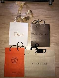 DIOR BVLGARI HERMÈS BURBERRY Branded Paper Bag
