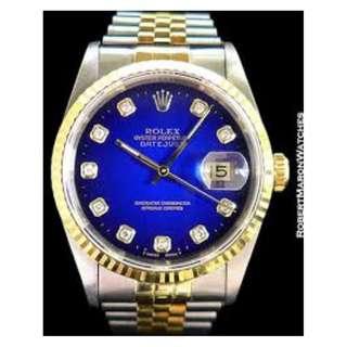 劳力士 ROLEX 16233 HALF GOLD BIG DIAMOND INDEX MENS WATCH